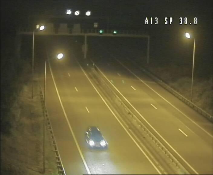 Webcam autoroute A13 à l'entrée ouest du tunnel Markusbierg à Schengen. Vue orientée vers Mondorf-les-Bains