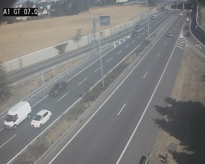 Traffic live webcam Luxembourg Cents - A1 direction Kirchberg - BK 7