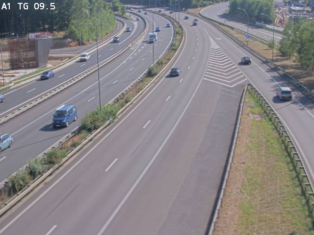 Traffic live webcam Luxembourg Jonction Grünewald - A1 direction Luxembourg-ville - BK 9.5